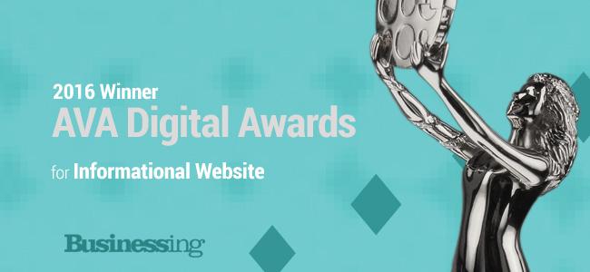 Businessing Magazine AVA Digital Award Winner 2016