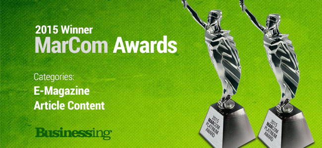 Businessing Magazine MarCom Award Winner 2015