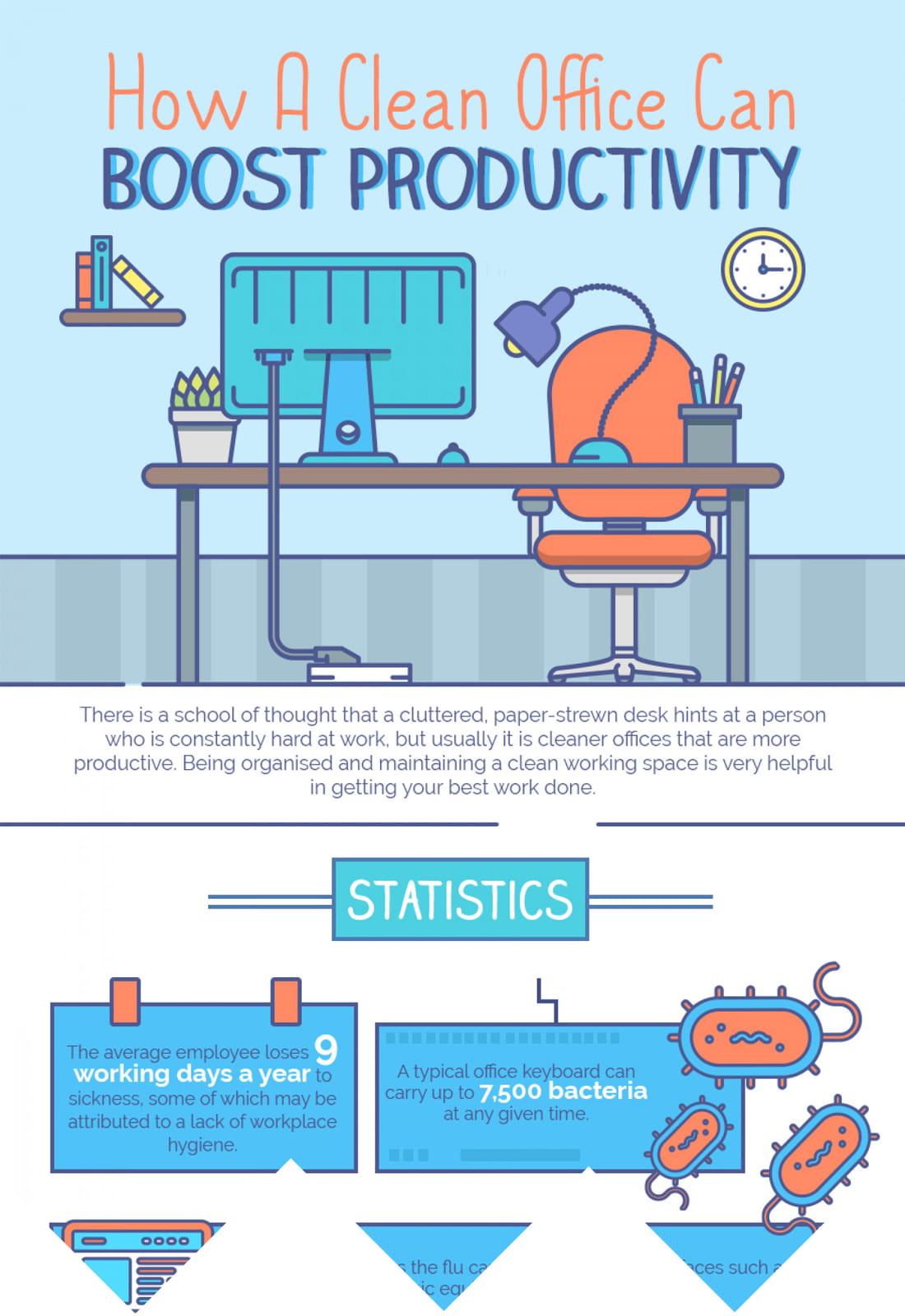 clean office productivity infographic