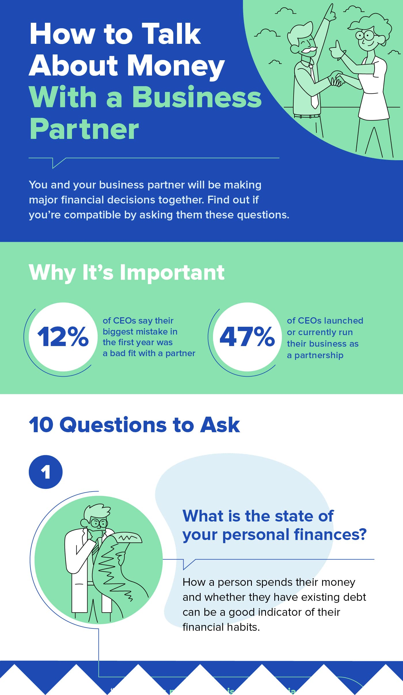 business partnership money discussion infographic